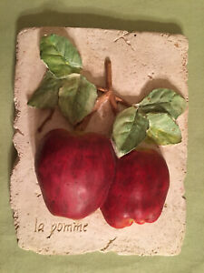 """Vintage 1997 Ceramic 3D Realistic Rustic French LaPomme Apple Picture 8.5 X 6.5"""""""