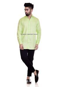 Men's Luxury Formal Shirt Long Sleeve Slim Fit Dress Business Casual Green Shirt