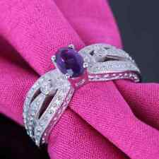 Valentine's Day Solid 14k White Gold Oval 6x4mm Amethyst Real Diamonds Gift Ring