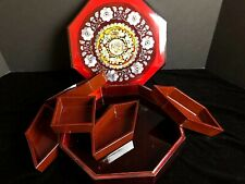 Korean Tea Snack Box Inlay MOP Hand Made Vintage Red & Black Black Lacquer 10""