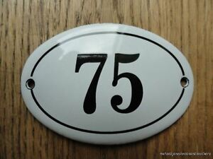 SMALL ANTIQUE STYLE ENAMEL DOOR NUMBER 75 SIGN PLAQUE HOUSE NUMBER SIGN