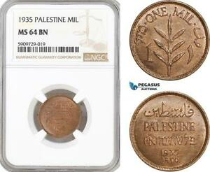 AF973, Palestine, 1 Mil 1935, London, NGC MS64RB