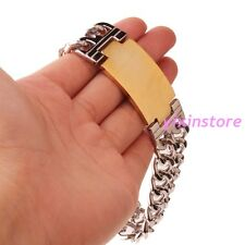 Cool Men's Bracelet Silver Gold Stainless Steel Two Rows Top Polishing Bangle