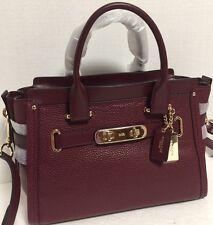 NEW Coach Swagger 27 Burgundy Pebble Leather Carryall Handbag 34816 $450