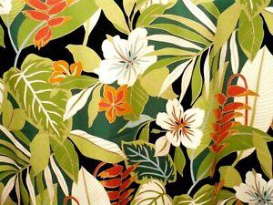 Tropical Hawaiian 100% Cotton Barkcloth Fabric VALANCE ~Kamuela-Black~