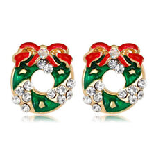 Beautiful Green & Red Wreath Stud Christmas Earrings for Xmas Gift E1333