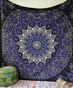 5 PC Indian Wall Hanging Cotton Bedspread Wall Decor Queen Size Mandala Tapestry
