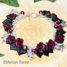 A Murder of Crows Red Rose Gothic Bracelet - Handmade Clay Flowers, Goth, Raven