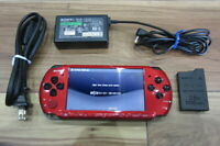 Sony PSP 3000 Console BlackxRed w/battery chager battery pack Japan x403