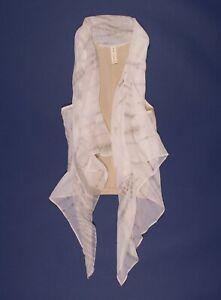 Maggie Ward Silk & Leather Drape Blouse Vest Top Size S Small
