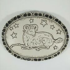 """ARIES the RAM Zodiac Rustic Gray & White 6"""" Small Oval Wall Hanging Plaque"""