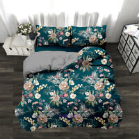 Floral Green Linen Duvet Quilt Doona Cover Set Double/Single/Queen/King Bed