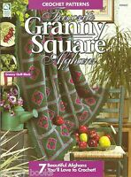Favorite Granny Square Afghans Quilt Roses Crochet Instruction Patterns Book NEW