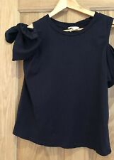 Womens Navy Blue Top Bow Sleeves Size Small Cotton H&M T-shirt