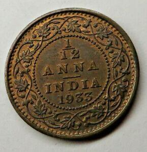 India-British 1/12 Anna 1933(c) Bronze KM#509 UNC
