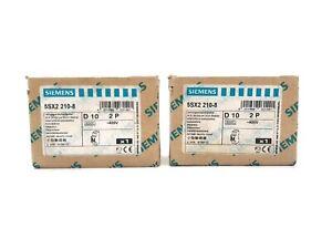 SIEMENS 5SX2 210-8 MINIATURE CIRCUIT BREAKER MCB 400 VAC D10 2P / LOT OF 2