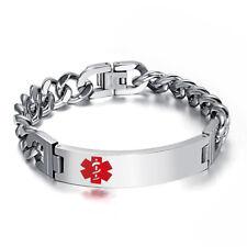 Free Engraving Name Medical Bracelet ID Tag ICE Chain Women Men Chunky Wristband