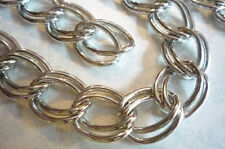 """Extra Large Double Link Silver Chain Twisted Oval Links 20"""" Chunky Curb Chain"""