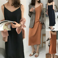 Korean Women Dress Loose Casual V Neck Maxi Dress Solid Slip One Piece Dress