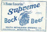 Vintage 1930's Supreme Bock Beer Label South Bethlehem Brewing Co Allentown PA