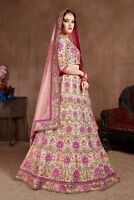 Neo Peach Pink Lehenga Choli Indian Wedding Lengha Chunri Designer Sari Saree