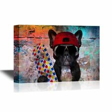 wall26 - Canvas Wall Art - Dog with Skateboard on Abstract Background - 24x36