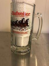 NWT Vintage 1989 Budweiser Clydesdale Christmas Holiday Glass Mug Stein 32oz