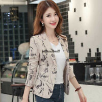 S-3XL Women Floral Open Front Suit Blazer Cardigan Business Outwear Coat Jacket