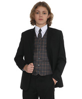 Boys Suits Boys Check Suits, Page Boy Wedding Prom Party Suit, Boys Black Suit F