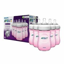 Philips Avent BPA Free Natural Pink Baby Bottles, 9 Ounce, 5 Pack NEW
