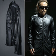 ByTheR Men's Glossy Black Urban Casual Unbalance Hem Faux Leather Long Shirts