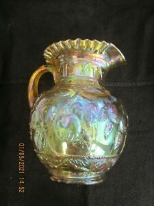 Carnival Glass Water Pitcher by Fenton Apple Tree 1980s