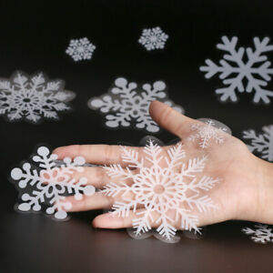 100pcs Reusable Christmas Window Snowflakes Stickers Clings Decal Decorations UK