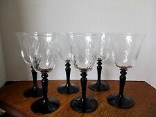 Vintage LUMINAC Black Onyx Stem Swirl Clear Bowl -- Set of Six 8 oz Goblets MINT