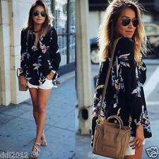 Fashion Women Loose Long Sleeve V Neck Casual Ladies Chiffon T Shirt Blouse Tops