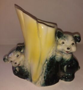 Vintage USA Pottery Planter Vase Bear Cubs Tree Stump One Manufacturing Flaw
