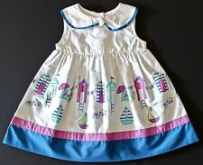 GYMBOREE GIRLS 6-12 MONTHS HIPPOS AND BOWS CABANA BEACH DRESS BLUE PURPLE WHITE