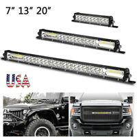 "7"" 13"" 20"" inch LED Light Bar Work Combo Spot Flood Slim Offroad SUV 4WD UTV US"