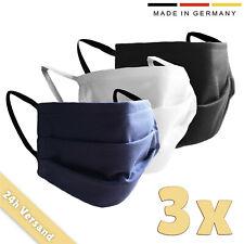 3er Set Mundschutz Maske schwarz / blau / weiß, Behelfsmaske, waschbar