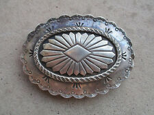 vintage 1970 Navajo heavy Modernist Concho 4oz sterling belt buckle M. Davis