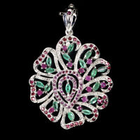 Unheated Marquise Emerald Rhodolite Garnet Ruby 925 Sterling Silver Pendant