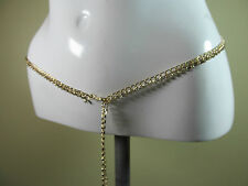 "Gold tone bling chain belt with diamante details size O/S - 40"" downwards R14782"