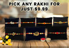 Indian Rakhi Rudraksh Om Ganesha Veera Gold Raakhi Raksha Bandhan Thread Band