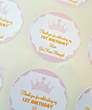 PERSONALISED PARTY STICKERS CROWN, PINK OR BLUE 1ST BIRTHDAY CHRISTENING 24X4CM