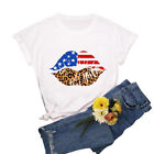 American Flag Lips Patriotic Women's T-shirt USA Flag Summer Casual Cotton Tee
