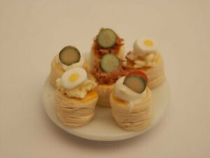 Dolls house food: Plate of assorted vol au vents   -By Fran