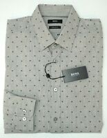 NWT $165 Hugo Boss Gray Geometric Shirt Long Sleeve Mens M L XL XXL Lukas_41 Reg