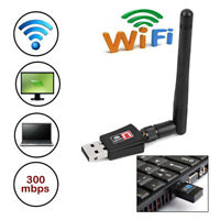 300Mbps USB Wifi Adapter Wlan Dongle 2dBI Antenna 802.11b/g/n Lan Network Card