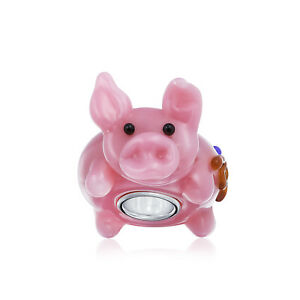 3D Lampwork Murano Glass Sterling Silver Core Pink Cartoon Pig Bead