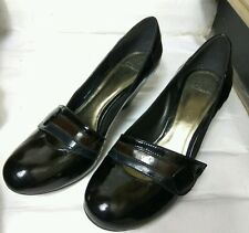 Clarks Womens Black Patent Leather Block High Heel Closed Toe Shoes Size UK 5.5